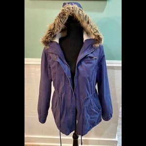 Blue winter coat with hood